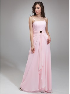 A-Line/Princess Strapless Floor-Length Chiffon Mother of the Bride Dress With Ruffle Crystal Brooch (008003188)