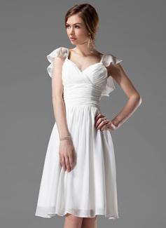 Трапеция/Принцесса V-образный Длина до колен шифон Платье Подружки Невесты с Бисер Ниспадающие оборки