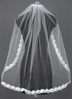 Uno capa Yema del dedo velos de novia con Con Aplicación de encaje