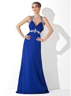 Sheath Halter Sweep Train Chiffon Prom Dress With Ruffle Beading (018002821)