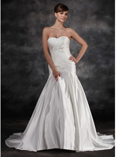 Mermaid Sweetheart Court Train Charmeuse Wedding Dress With Ruffle Lace (002016928)