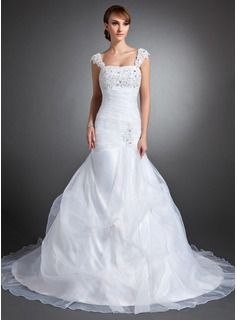 Mermaid Sweetheart Cathedral Train Organza Satin Wedding Dress With Ruffle Lace Beadwork Sequins (002015142)