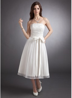 A-Line/Princess Strapless Tea-Length Chiffon Satin Lace Wedding Dress With Bow(s)