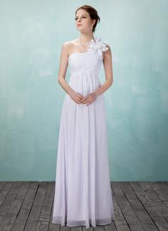 Corte imperial Un sólo hombro Vestido Chifón Vestido de novia con Volantes Flores