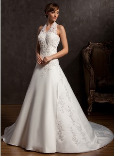 A-Line/Princess Halter Chapel Train Satin Wedding Dress With Lace Beading Sequins