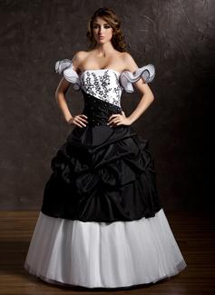Corte de baile Estrapless Hasta el suelo Tafetán Tul Vestido de quinceañera con Volantes Encaje Bordado