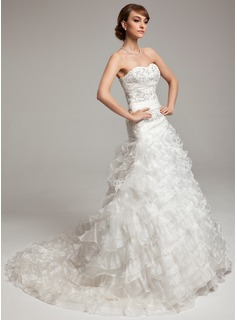 A-Line/Princess Sweetheart Court Train Organza Wedding Dress With Ruffle Beadwork (002017533)