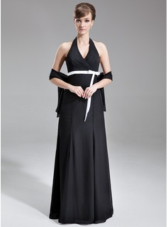 A-Line/Princess Halter Floor-Length Chiffon Bridesmaid Dress With Ruffle Sash Bow(s)