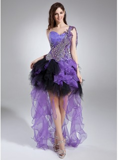 A-Line/Princess One-Shoulder Asymmetrical Organza Tulle Prom Dress With Beading Appliques Sequins Cascading Ruffles