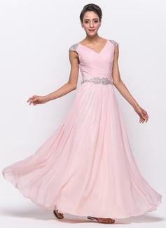 Vestidos princesa/ Formato A Decote V Longos De chiffon Tule Vestido de baile com Pregueado Bordado Lantejoulas