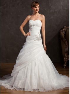 A-Line/Princess Sweetheart Court Train Organza Satin Wedding Dress With Ruffle Beadwork Sequins (002015159)