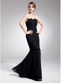 Mermaid Sweetheart Floor-Length Chiffon Evening Dress With Ruffle (017014563)