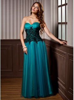 A-Line/Princess Sweetheart Floor-Length Tulle Evening Dress With Ruffle Lace