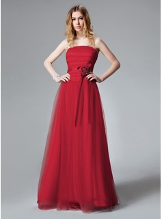 A-Line/Princess Strapless Floor-Length Satin Tulle Bridesmaid Dress With Ruffle Flower(s)