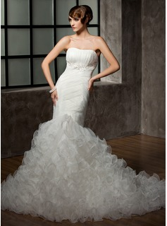 Mermaid Sweetheart Chapel Train Organza Wedding Dress With Ruffle Lace Beadwork