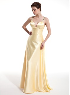A-Line/Princess V-neck Floor-Length Charmeuse Prom Dress With Ruffle Beading