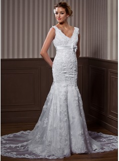 Trumpet/Mermaid V-neck Chapel Train Organza Satin Wedding Dress With Lace Beading Bow