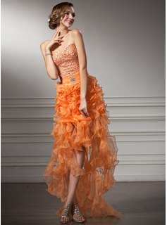 A-Line/Princess Sweetheart Asymmetrical Organza Satin Prom Dress With Beading Cascading Ruffles
