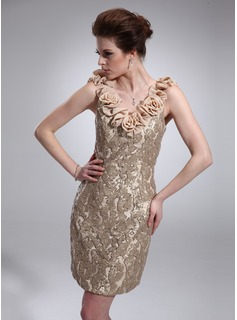 Sheath V-neck Knee-Length Chiffon Charmeuse Sequined Cocktail Dress With Flower(s) (016019541)