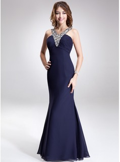 Trumpet/Mermaid V-neck Floor-Length Chiffon Evening Dress With Ruffle Beading