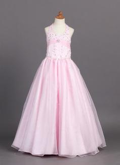 A-Line/Princess Halter Floor-Length Organza Satin Flower Girl Dress With Ruffle Beading