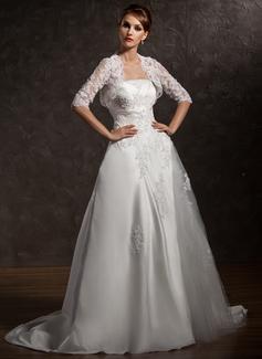 Corte A/Princesa Estrapless Cola corte Satén Vestido de novia con Volantes Encaje Bordado