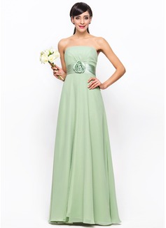 Empire Strapless Floor-Length Chiffon Satin Bridesmaid Dress With Ruffle Flower(s)