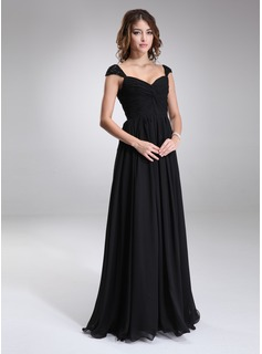 A-Line/Princess Sweetheart Floor-Length Chiffon Bridesmaid Dress With Ruffle Beading (007016866)