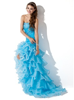 Mermaid Sweetheart Asymmetrical Organza Satin Prom Dress With Ruffle Beading (018005086)