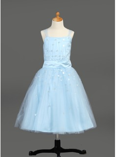 A-Line/Princess Tea-Length Tulle Flower Girl Dress With Ruffle Sequins