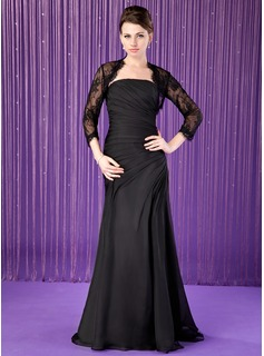 Mermaid Strapless Floor-Length Chiffon Mother of the Bride Dress With Ruffle (008018742)