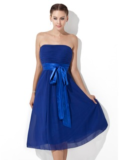 Empire Strapless Tea-Length Chiffon Charmeuse Bridesmaid Dress With Ruffle Sash (007000839)