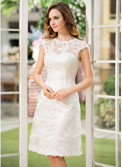 Forme Princesse Col rond Longueur genou Satiné Dentelle Robe de mariée