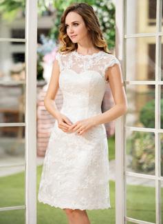 Corte A/Princesa Escote redondo Hasta la rodilla Satén Encaje Vestido de novia