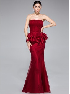 Trumpet/Mermaid Strapless Floor-Length Taffeta Tulle Evening Dress With Lace Cascading Ruffles