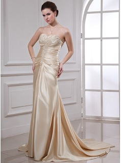 Sheath/Column Sweetheart Court Train Charmeuse Wedding Dress With Ruffle Lace Beadwork