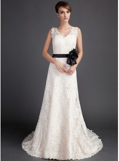 A-Line/Princess V-neck Court Train Satin Lace Wedding Dress With Sashes Beadwork Flower(s) (002015783)