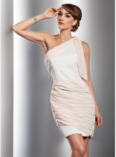 Sheath One-Shoulder Short/Mini Chiffon Satin Cocktail Dress With Ruffle (016014729)