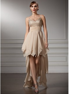 Empire V-neck Asymmetrical Chiffon Satin Homecoming Dress With Ruffle Beading (022009956)