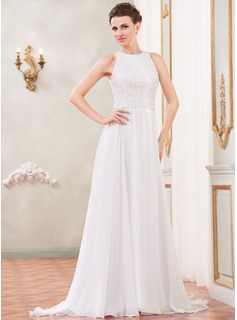 A-Line/Princess Scoop Neck Sweep Train Chiffon Lace Wedding Dress With Beading Sequins