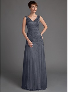 A-Line/Princess V-neck Floor-Length Tulle Lace Mother of the Bride Dress With Beading Sequins