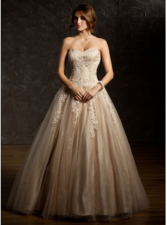 Ball-Gown Sweetheart Floor-Length Satin Tulle Quinceanera Dress With Ruffle Lace Beading (021004679)