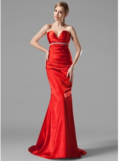 Trumpet/Mermaid V-neck Sweep Train Charmeuse Evening Dress With Ruffle Beading