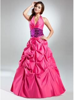 Ball-Gown Halter Floor-Length Satin Sequined Quinceanera Dress With Ruffle Sash