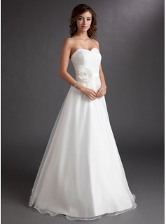 A-Line/Princess Sweetheart Floor-Length Organza Satin Wedding Dress With Ruffle Flower(s) (002016728)