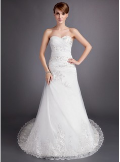 A-Line/Princess Sweetheart Chapel Train Satin Tulle Wedding Dress With Ruffle Lace Beading