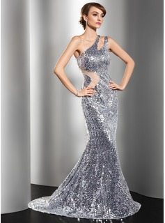 Mermaid One-Shoulder Sweep Train Tulle Sequined Evening Dress