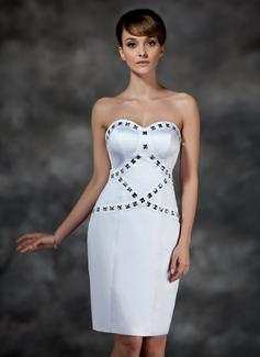 Sheath/Column Sweetheart Knee-Length Satin Cocktail Dress With Beading
