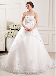 Ball-Gown Strapless Cathedral Train Tulle Wedding Dress With Lace Beadwork Flower(s) Sequins