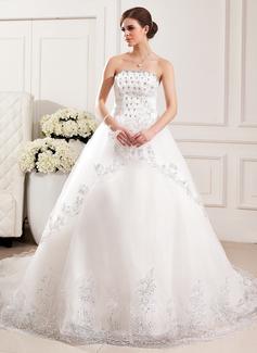 Corte de baile Estrapless Tren de la catedral Tul Vestido de novia con Encaje Bordado Flores Lentejuelas